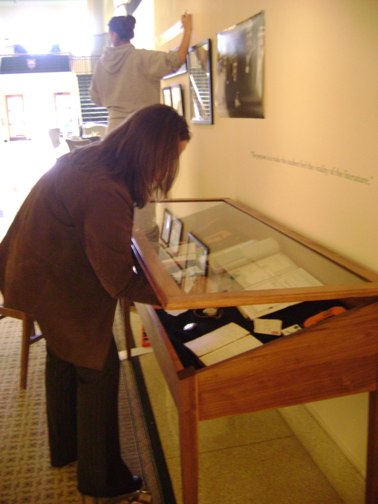 Installing objects in the Cochenour Gallery.